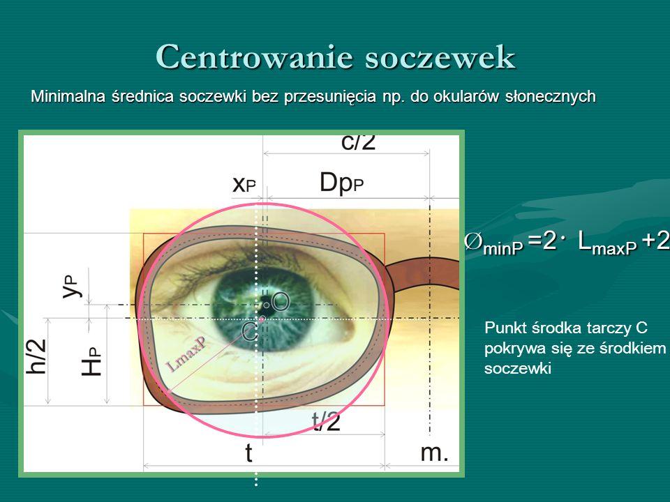 Centrowanie soczewek Minimalna średnica soczewki bez przesunięcia np. do okularów słonecznych ØminP =2· LmaxP +2 LmaxP Punkt środka tarczy C pokrywa s