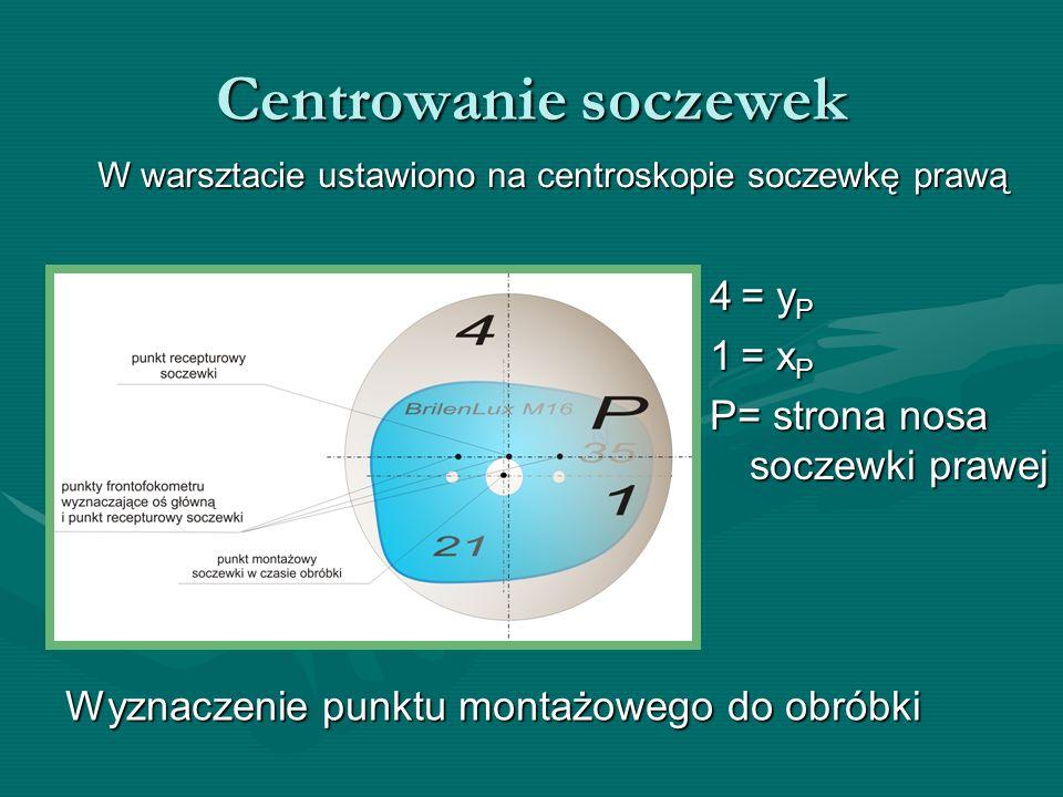 Centrowanie soczewek W warsztacie ustawiono na centroskopie soczewkę prawą 4 = y P 1 = x P P= strona nosa soczewki prawej Wyznaczenie punktu montażowe
