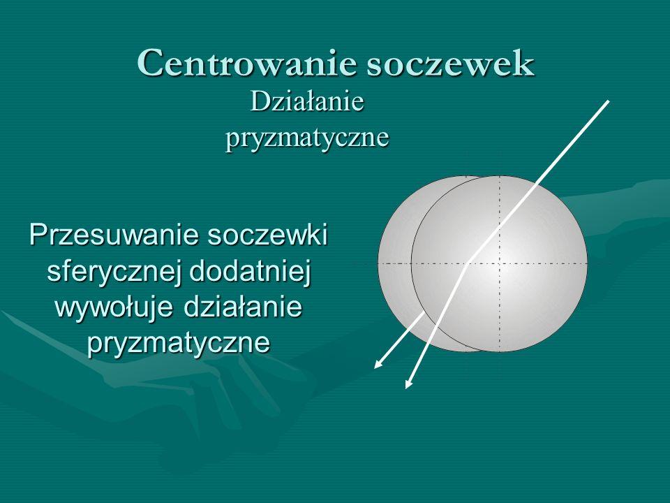 Centrowanie soczewek Działanie pryzmatyczne Przesuwanie soczewki sferycznej dodatniej wywołuje działanie pryzmatyczne