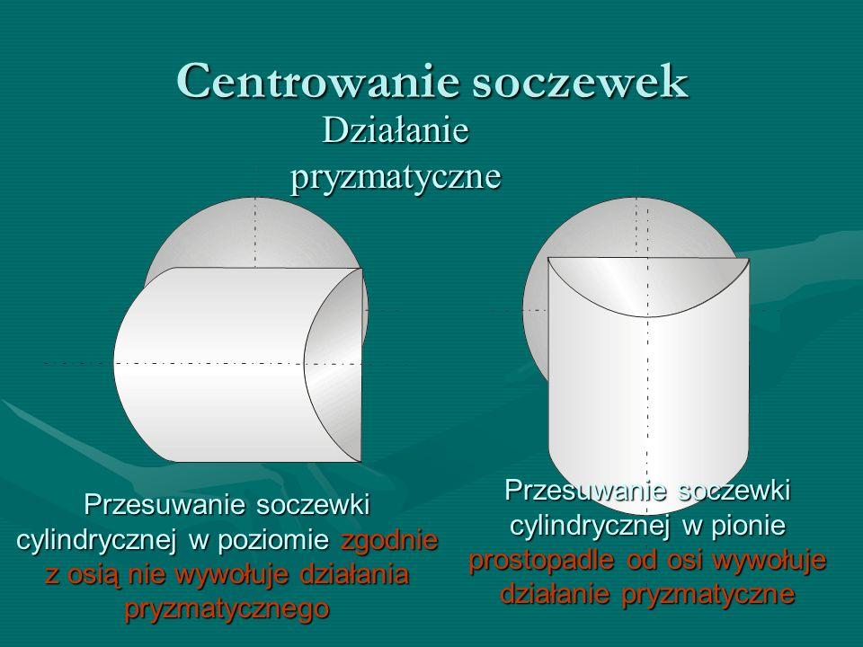 Centrowanie soczewek Działanie pryzmatyczne Przesuwanie soczewki cylindrycznej w pionie prostopadle od osi wywołuje działanie pryzmatyczne Przesuwanie