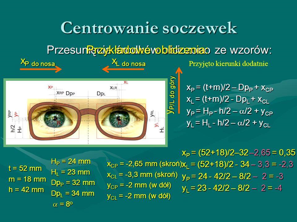 Centrowanie soczewek Przesunięcia środków obliczono ze wzorów: t = 52 mm m = 18 mm h = 42 mm xP = (t+m)/2 – DpP + xCP xL = (t+m)/2 - DpL + xCL yP = HP