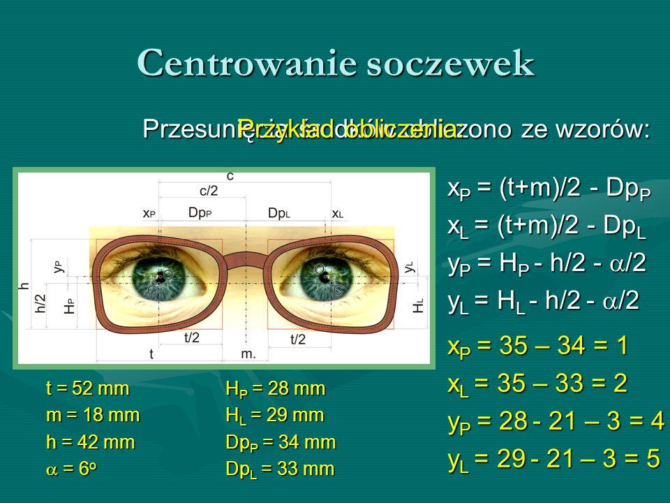Centrowanie soczewek Przesunięcia środków obliczono ze wzorów: t = 52 mm m = 18 mm h = 42 mm = 6 o = 6 o xP = (t+m)/2 - DpP xL = (t+m)/2 - DpL yP = HP