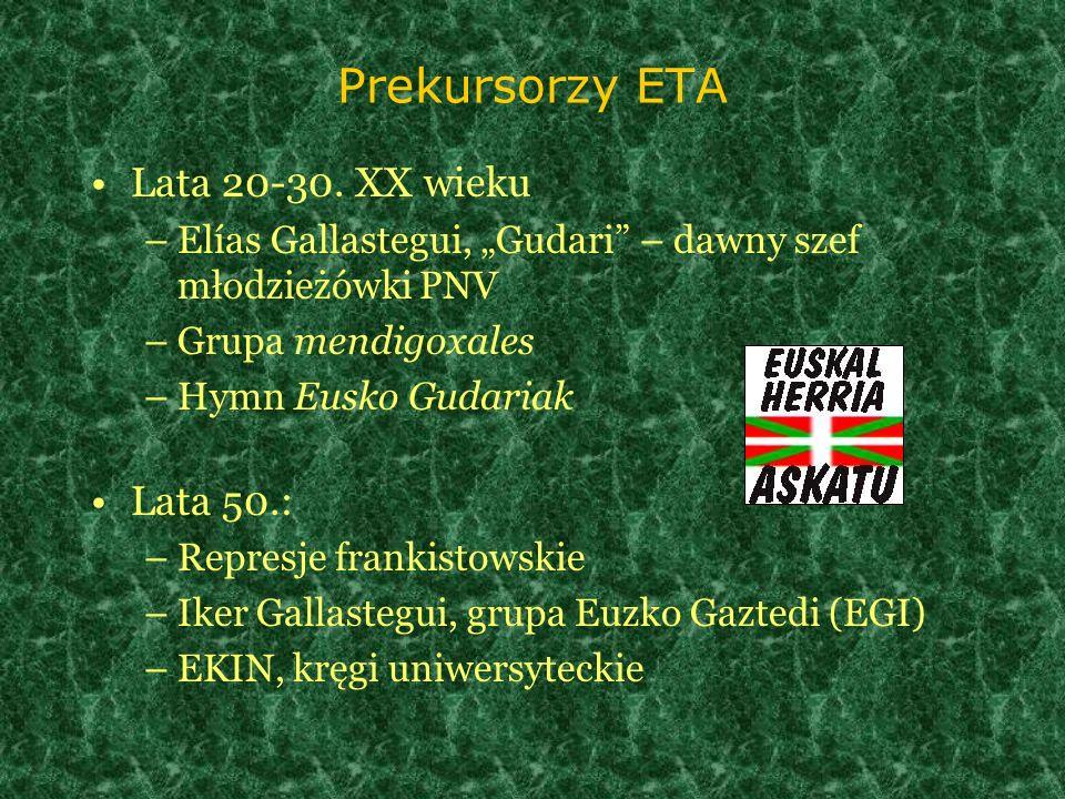 Prekursorzy ETA Lata 20-30. XX wieku –Elías Gallastegui, Gudari – dawny szef młodzieżówki PNV –Grupa mendigoxales –Hymn Eusko Gudariak Lata 50.: –Repr