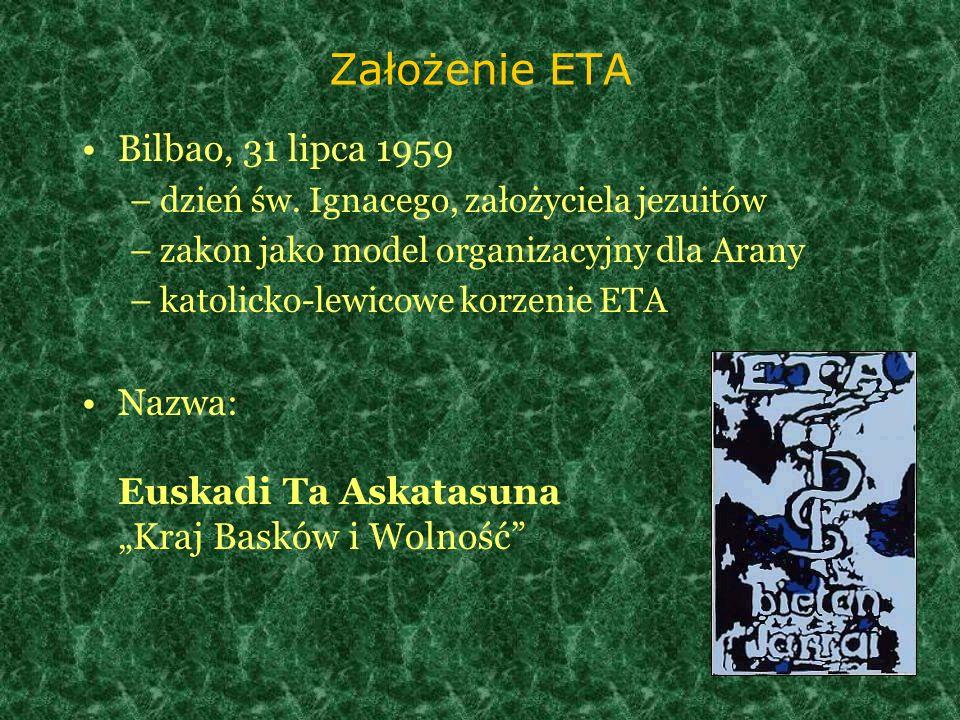 Założenie ETA Bilbao, 31 lipca 1959 –dzień św. Ignacego, założyciela jezuitów –zakon jako model organizacyjny dla Arany –katolicko-lewicowe korzenie E