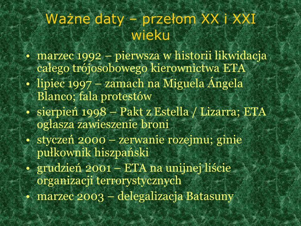 Ważne daty – przełom XX i XXI wieku marzec 1992 – pierwsza w historii likwidacja całego trójosobowego kierownictwa ETA lipiec 1997 – zamach na Miguela