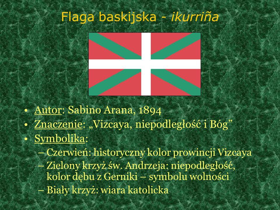 Flaga baskijska - ikurriña Autor: Sabino Arana, 1894 Znaczenie: Vizcaya, niepodległość i Bóg Symbolika: –Czerwień: historyczny kolor prowincji Vizcaya