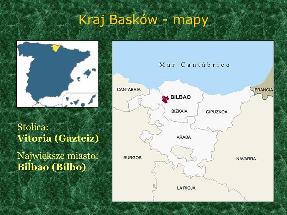 Kraj Basków - mapy Stolica: Vitoria (Gazteiz) Największe miasto: Bilbao (Bilbo)