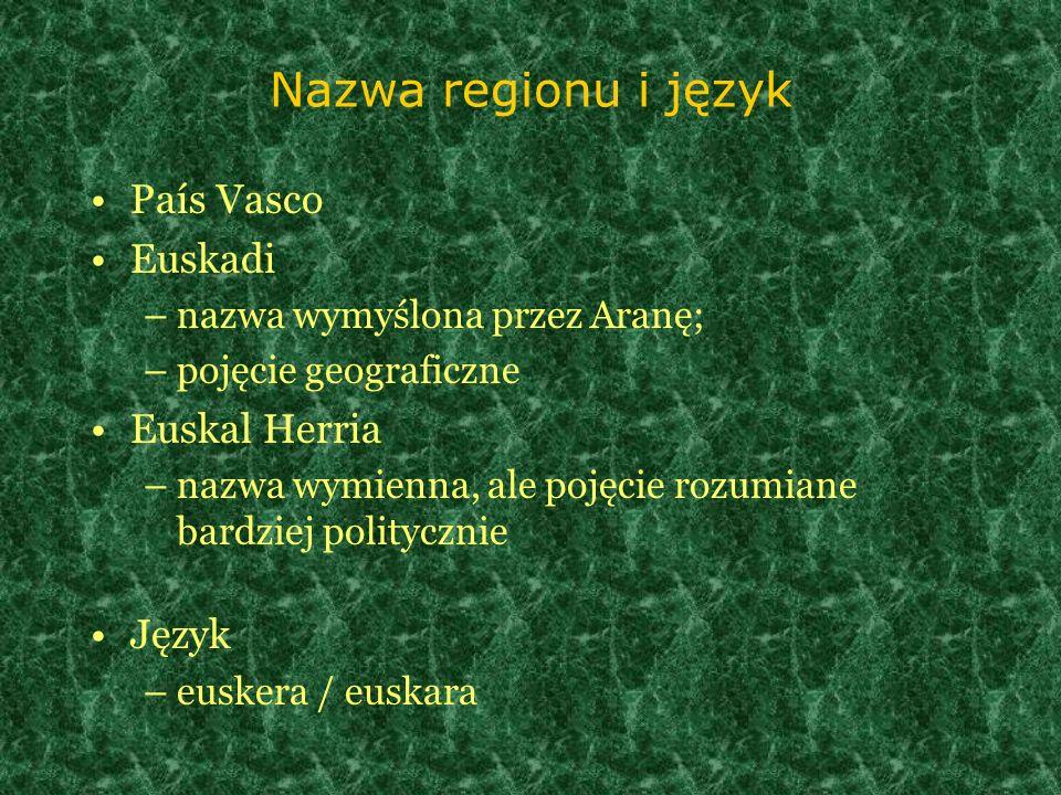 Nazwa regionu i język País Vasco Euskadi –nazwa wymyślona przez Aranę; –pojęcie geograficzne Euskal Herria –nazwa wymienna, ale pojęcie rozumiane bard