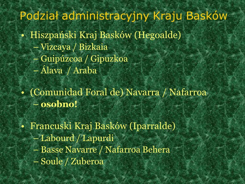 Podział administracyjny Kraju Basków Hiszpański Kraj Basków (Hegoalde) –Vizcaya / Bizkaia –Guipúzcoa / Gipuzkoa –Álava / Araba (Comunidad Foral de) Na