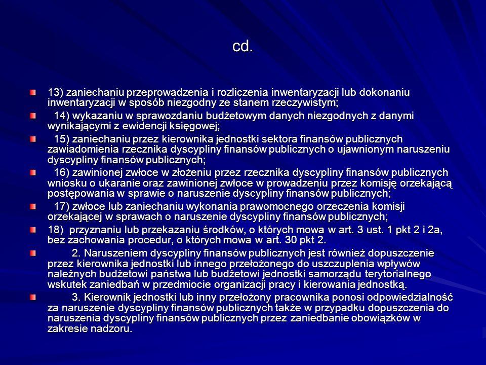 cd. 13) zaniechaniu przeprowadzenia i rozliczenia inwentaryzacji lub dokonaniu inwentaryzacji w sposób niezgodny ze stanem rzeczywistym; 14) wykazaniu