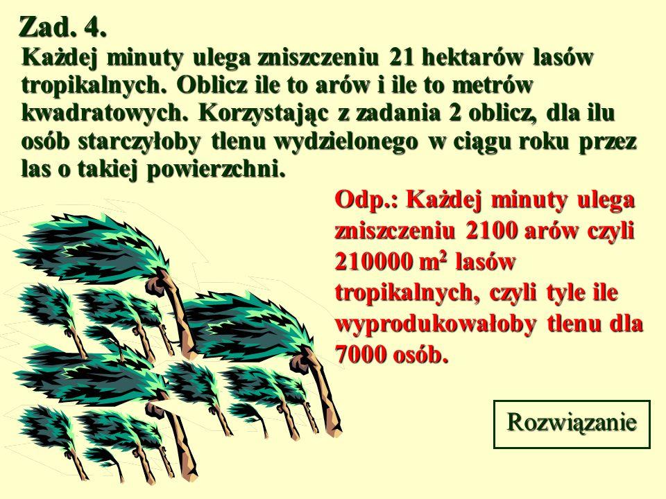 Zad. 3. Szkółka leśna jest kwadratem o boku 250 m. oblicz pole powierzchni tej szkółki w arach i hektarach. Rozwiązanie 250 m Odp.: Szkółka leśna ma p