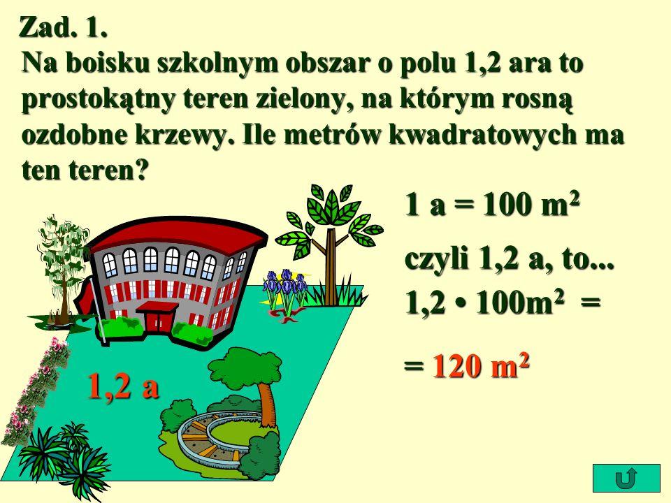 Zad. 1. Na boisku szkolnym obszar o polu 1,2 ara to prostokątny teren zielony, na którym rosną ozdobne krzewy. Ile metrów kwadratowych ma ten teren? 1