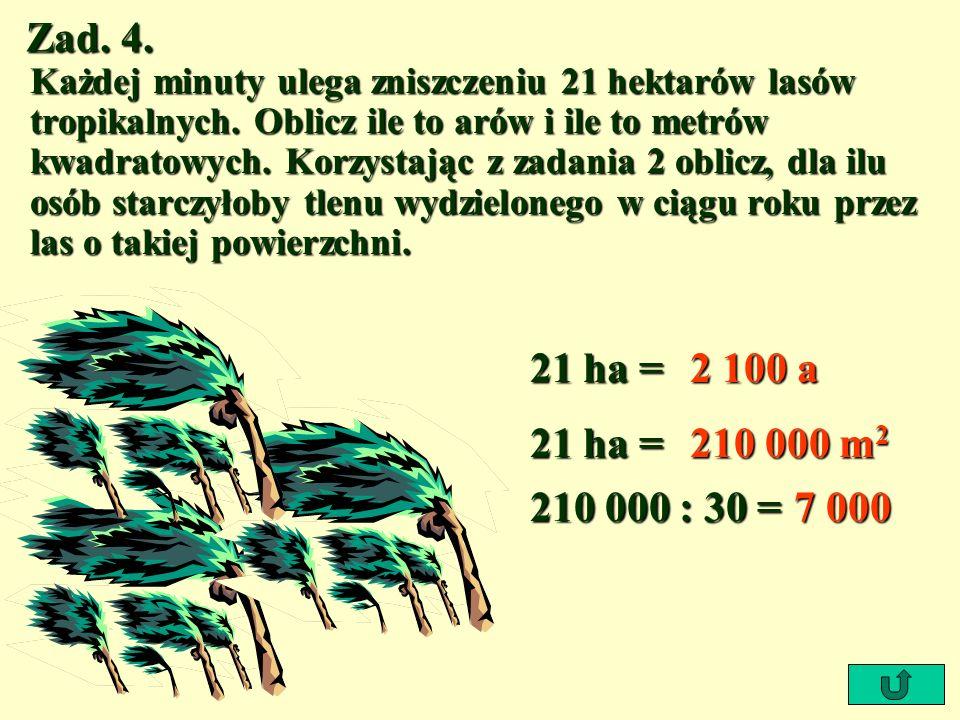 Zad. 4. Każdej minuty ulega zniszczeniu 21 hektarów lasów tropikalnych. Oblicz ile to arów i ile to metrów kwadratowych. Korzystając z zadania 2 oblic
