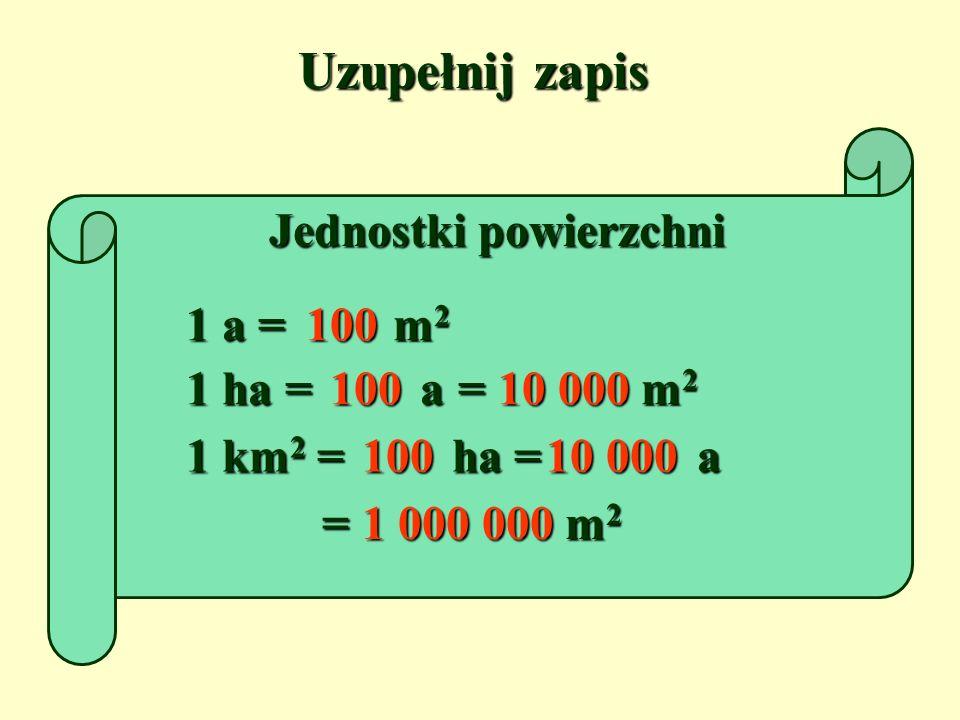 Uzupełnij zapis Jednostki powierzchni 1 a = m 2 100 1 ha = a 100 = m 2 10 000 1 km 2 = ha 100 = a 10 000 = m 2 1 000 000