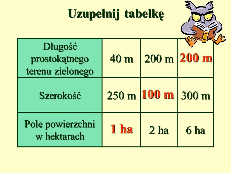 Uzupełnij tabelkę Długość prostokątnego terenu zielonego 40 m 200 m Szerokość 250 m 300 m Pole powierzchni w hektarach 2 ha 6 ha 1 ha 100 m 200 m