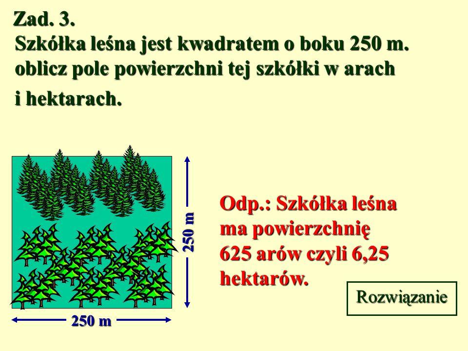 Zad.3. Szkółka leśna jest kwadratem o boku 250 m.