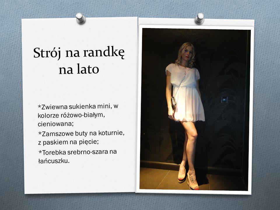 Strój na randkę na lato *Zwiewna sukienka mini, w kolorze ró ż owo-białym, cieniowana; *Zamszowe buty na koturnie, z paskiem na pi ę cie; *Torebka srebrno-szara na ła ń cuszku.