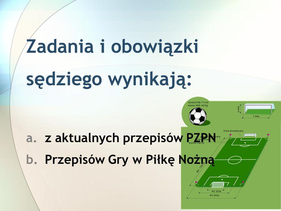 Zadania i obowiązki sędziego wynikają: a.z aktualnych przepisów PZPN b.Przepisów Gry w Piłkę Nożną