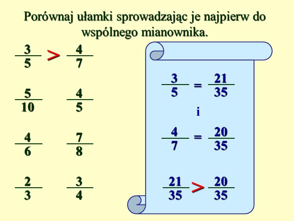 3 5 2 3 i > Aby porównać ułamki o różnych licznikach i mianownikach, sprowadzamy je do wspólnego mianownika lub licznika i porównujemy.