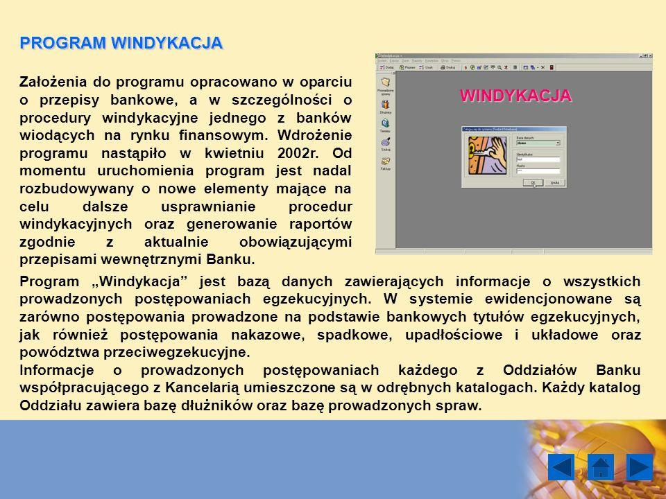 PROGRAM WINDYKACJA Założenia do programu opracowano w oparciu o przepisy bankowe, a w szczególności o procedury windykacyjne jednego z banków wiodącyc