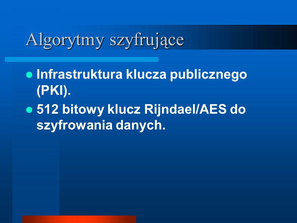 Algorytmy szyfrujące Infrastruktura klucza publicznego (PKI). 512 bitowy klucz Rijndael/AES do szyfrowania danych.