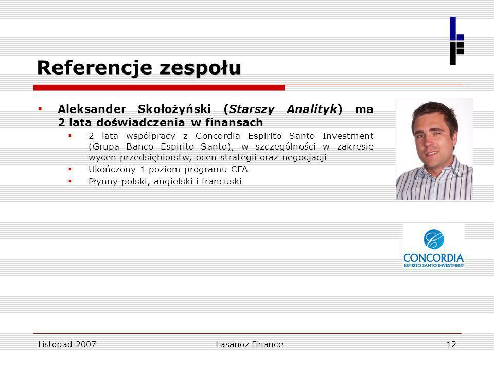 Listopad 2007Lasanoz Finance12 zespołu Referencje zespołu Aleksander Skołożyński (Starszy Analityk) ma 2 lata doświadczenia w finansach 2 lata współpr