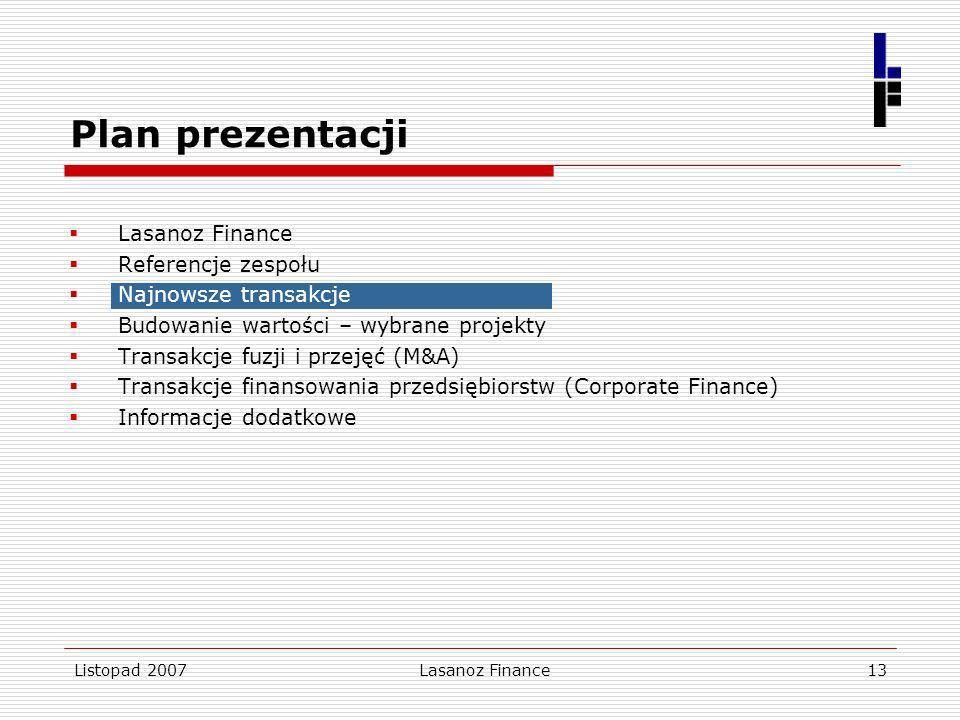 Listopad 2007Lasanoz Finance13 Lasanoz Finance Referencje zespołu Najnowsze transakcje Budowanie wartości – wybrane projekty Transakcje fuzji i przeję