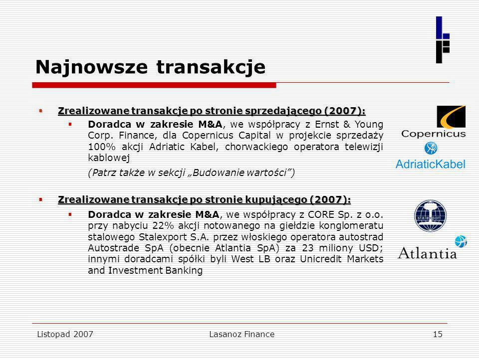 Listopad 2007Lasanoz Finance15 Najnowsze transakcje Zrealizowane transakcje po stronie sprzedającego (2007): Zrealizowane transakcje po stronie sprzed
