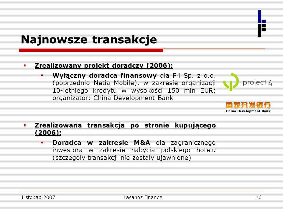 Listopad 2007Lasanoz Finance16 Najnowsze transakcje Zrealizowany projekt doradczy (2006): Zrealizowany projekt doradczy (2006): Wyłączny doradca finan