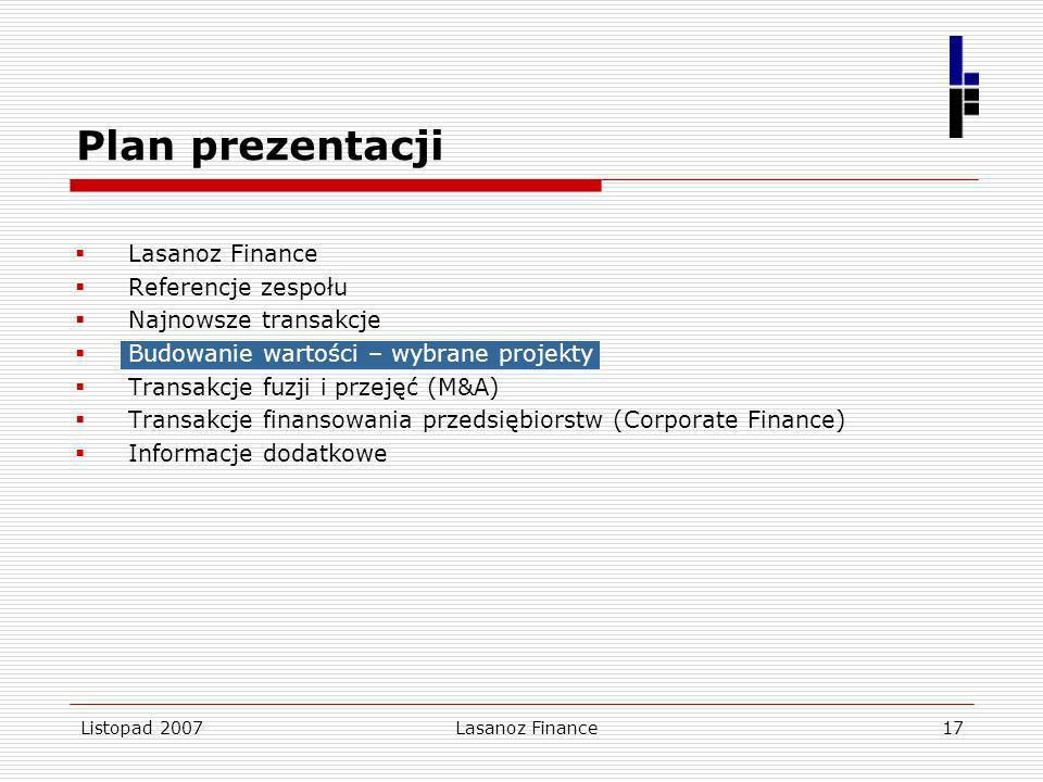 Listopad 2007Lasanoz Finance17 Lasanoz Finance Referencje zespołu Najnowsze transakcje Budowanie wartości – wybrane projekty Transakcje fuzji i przeję