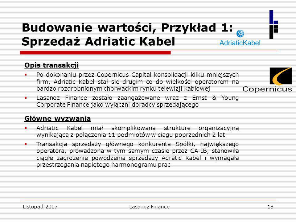Listopad 2007Lasanoz Finance18 Opis transakcji Po dokonaniu przez Copernicus Capital konsolidacji kilku mniejszych firm, Adriatic Kabel stał się drugi