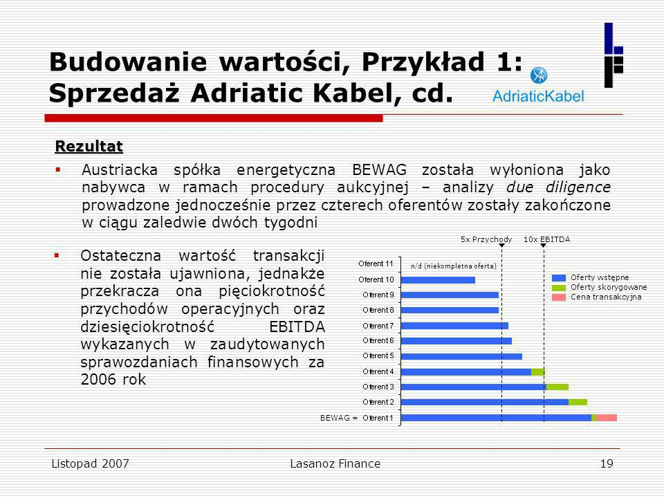 Listopad 2007Lasanoz Finance19 Rezultat Austriacka spółka energetyczna BEWAG została wyłoniona jako nabywca w ramach procedury aukcyjnej – analizy due