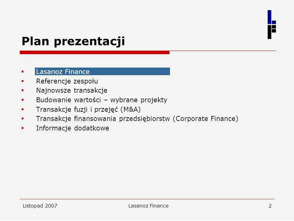 Lasanoz Finance2 Plan prezentacji Lasanoz Finance Referencje zespołu Najnowsze transakcje Budowanie wartości – wybrane projekty Transakcje fuzji i prz