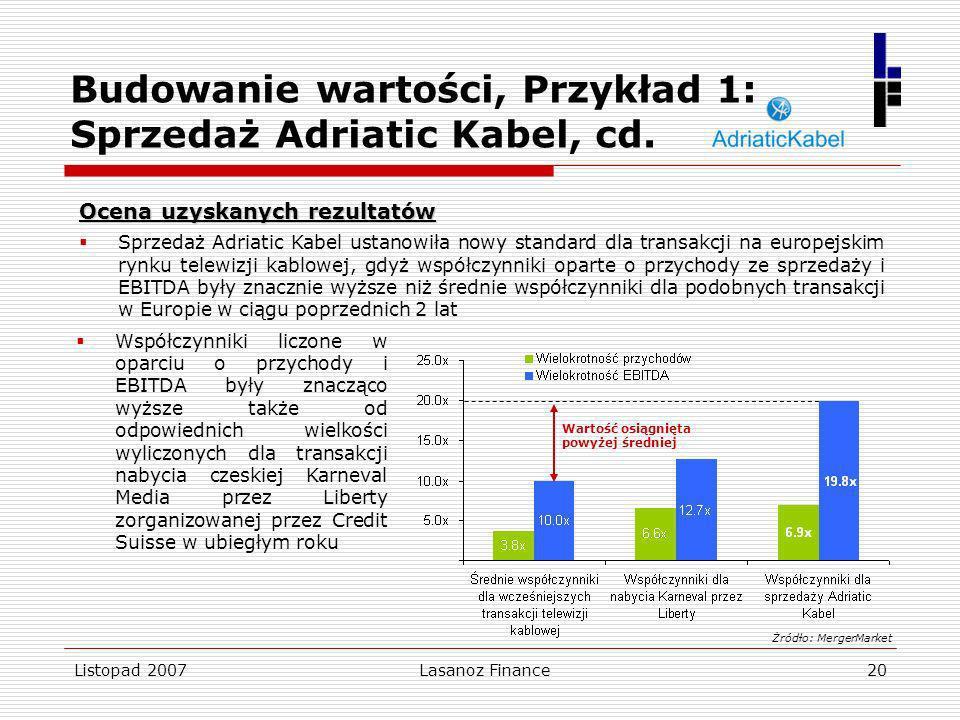 Listopad 2007Lasanoz Finance20 Budowanie wartości, Przykład 1: Sprzedaż Adriatic Kabel, cd. Ocena uzyskanych rezultatów Sprzedaż Adriatic Kabel ustano