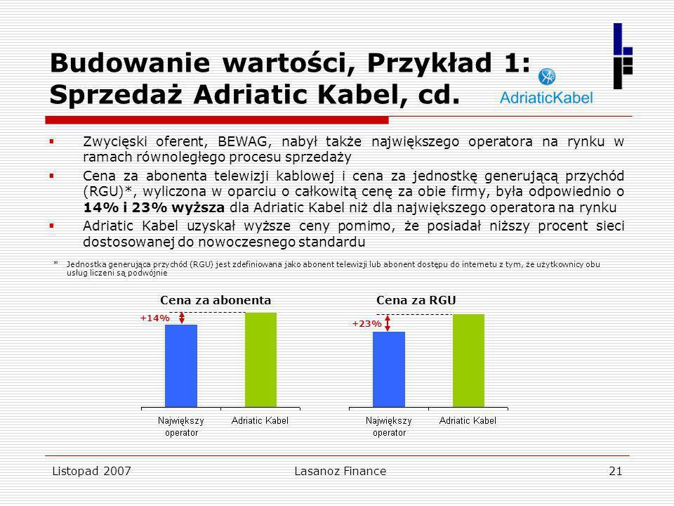 Listopad 2007Lasanoz Finance21 +23% Cena za RGU Budowanie wartości, Przykład 1: Sprzedaż Adriatic Kabel, cd. Zwycięski oferent, BEWAG, nabył także naj