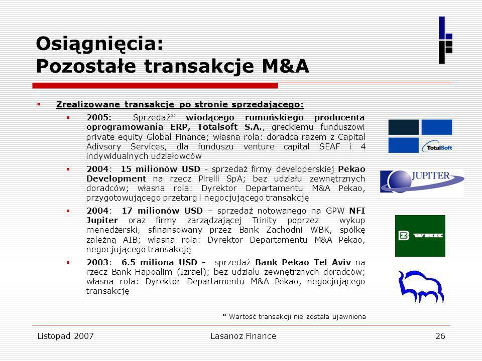 Listopad 2007Lasanoz Finance26 Osiągnięcia: Pozostałe transakcje M&A Zrealizowane transakcje po stronie sprzedającego: Zrealizowane transakcje po stro