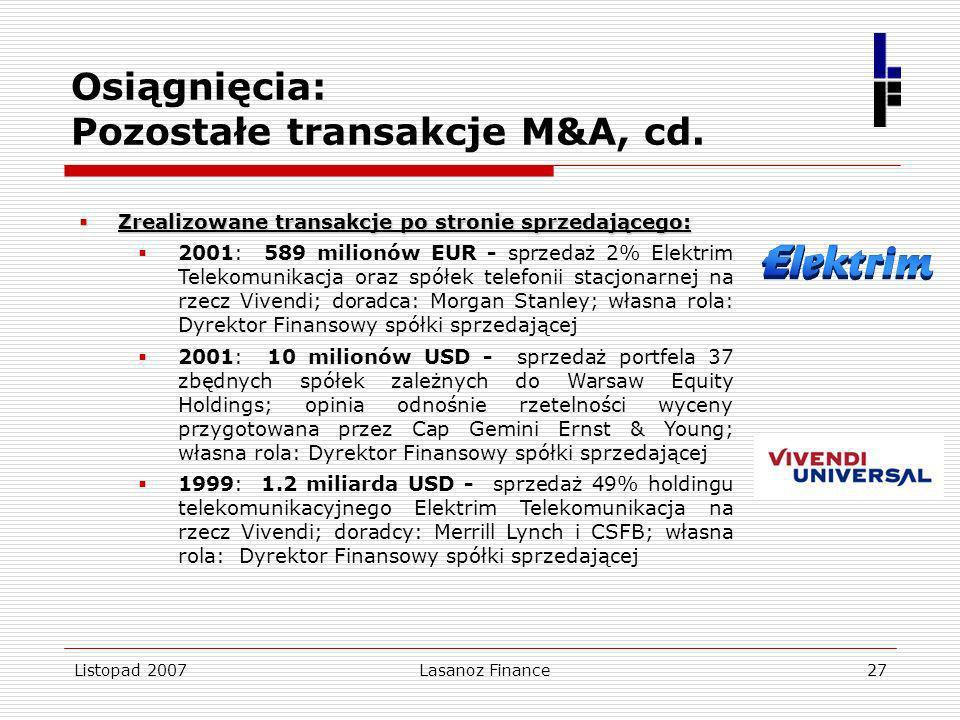 Listopad 2007Lasanoz Finance27 Osiągnięcia: Pozostałe transakcje M&A, cd. Zrealizowane transakcje po stronie sprzedającego: Zrealizowane transakcje po