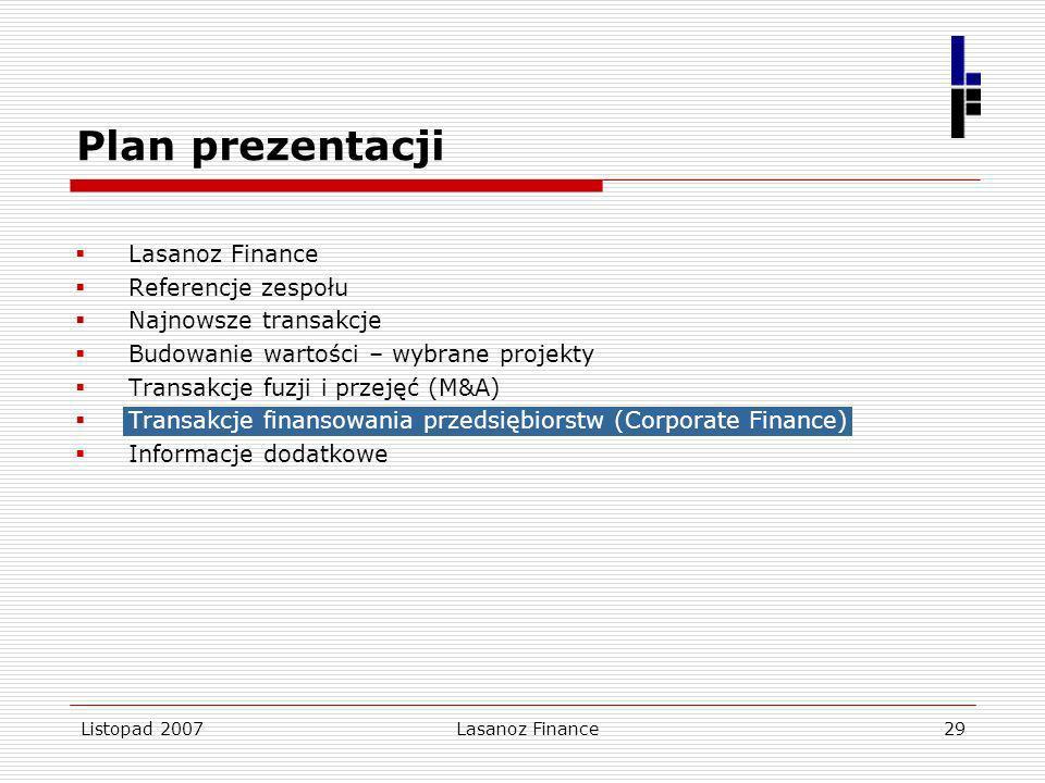 Listopad 2007Lasanoz Finance29 Lasanoz Finance Referencje zespołu Najnowsze transakcje Budowanie wartości – wybrane projekty Transakcje fuzji i przeję