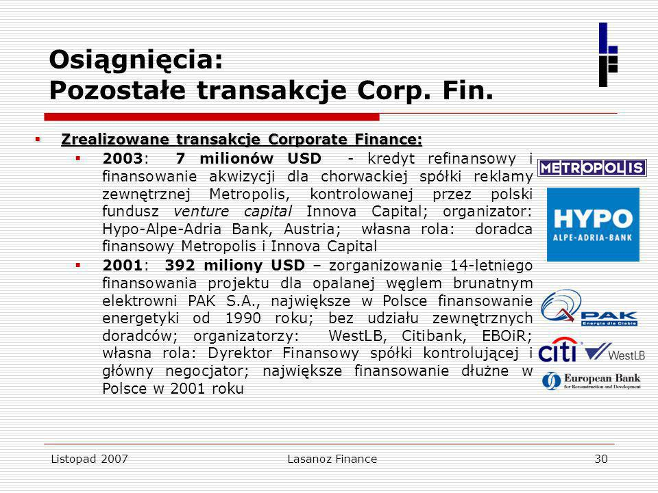 Listopad 2007Lasanoz Finance30 Osiągnięcia: Pozostałe transakcje Corp. Fin. Zrealizowane transakcje Corporate Finance: Zrealizowane transakcje Corpora