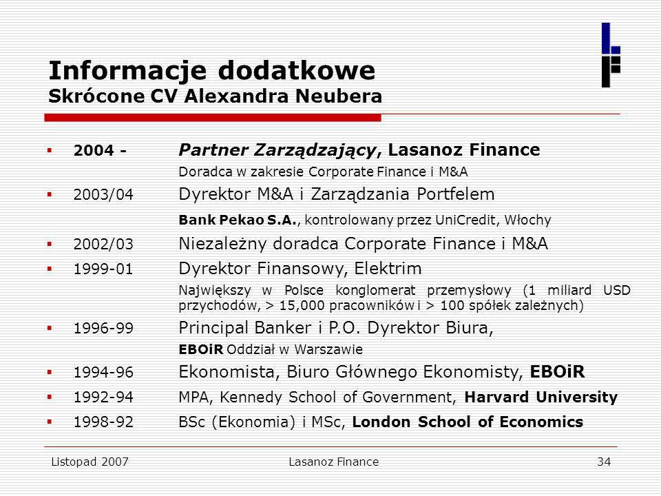Listopad 2007Lasanoz Finance34 Informacje dodatkowe Skrócone CV Alexandra Neubera 2004 - Partner Zarządzający, Lasanoz Finance Doradca w zakresie Corp