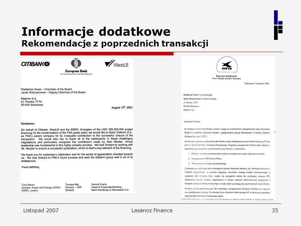 Listopad 2007Lasanoz Finance35 Informacje dodatkowe Rekomendacje z poprzednich transakcji