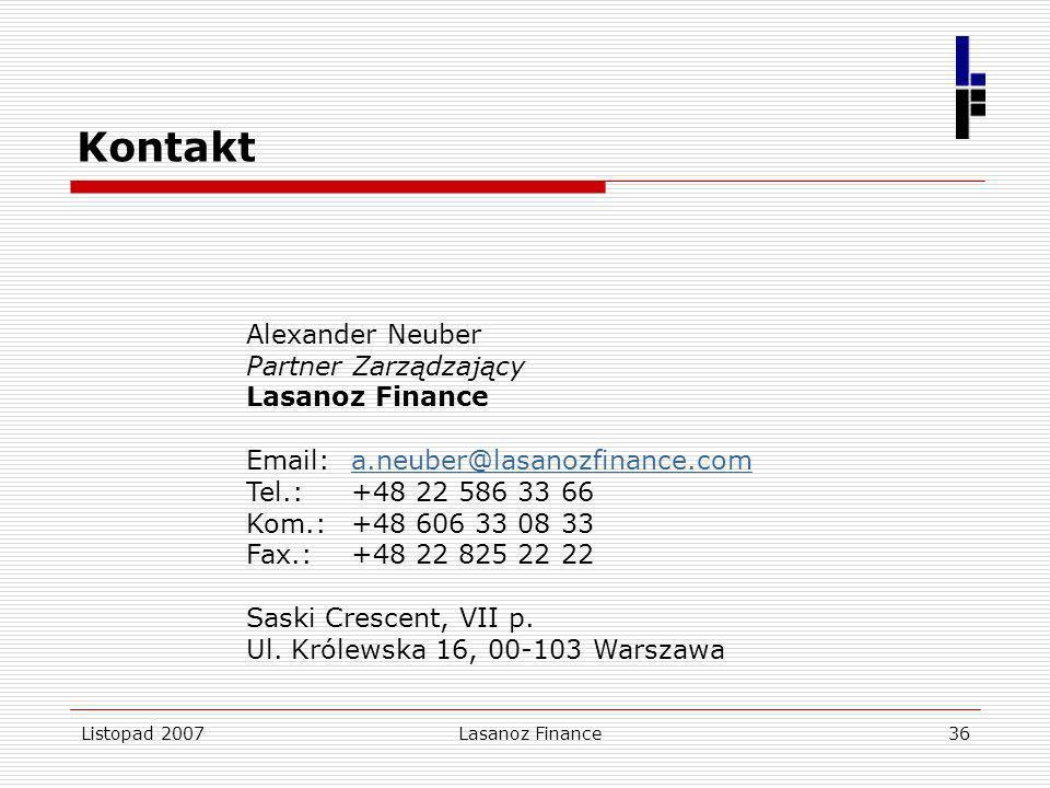 Listopad 2007Lasanoz Finance36 Kontakt Alexander Neuber Partner Zarządzający Lasanoz Finance Email: a.neuber@lasanozfinance.coma.neuber@lasanozfinance
