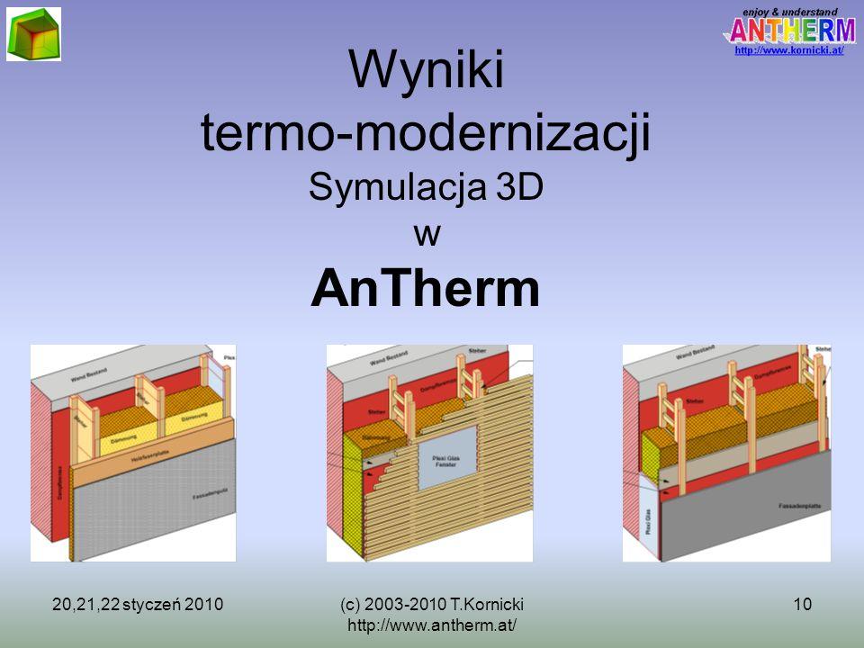20,21,22 styczeń 2010(c) 2003-2010 T.Kornicki http://www.antherm.at/ 10 Wyniki termo-modernizacji Symulacja 3D w AnTherm