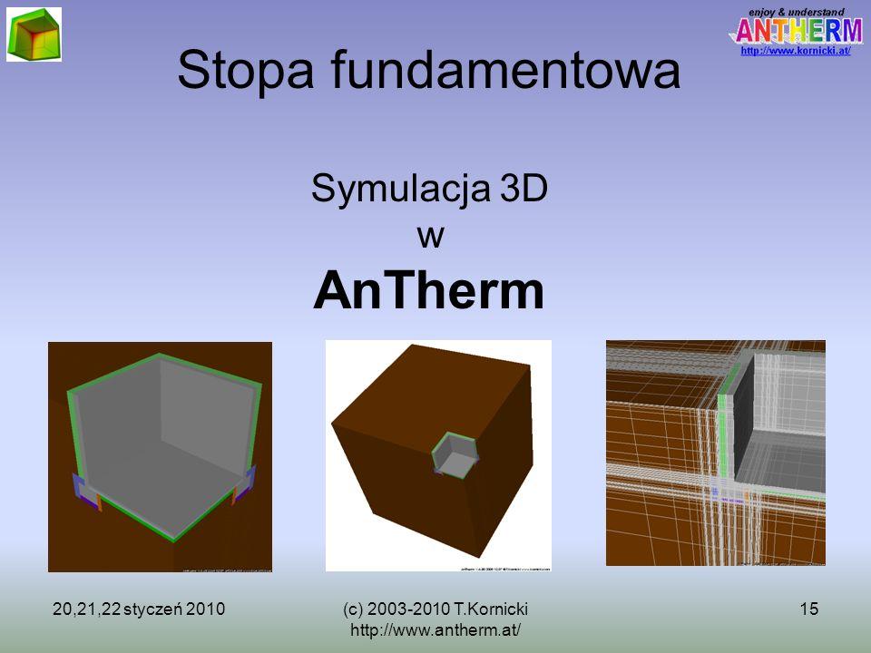 20,21,22 styczeń 2010(c) 2003-2010 T.Kornicki http://www.antherm.at/ 15 Stopa fundamentowa Symulacja 3D w AnTherm