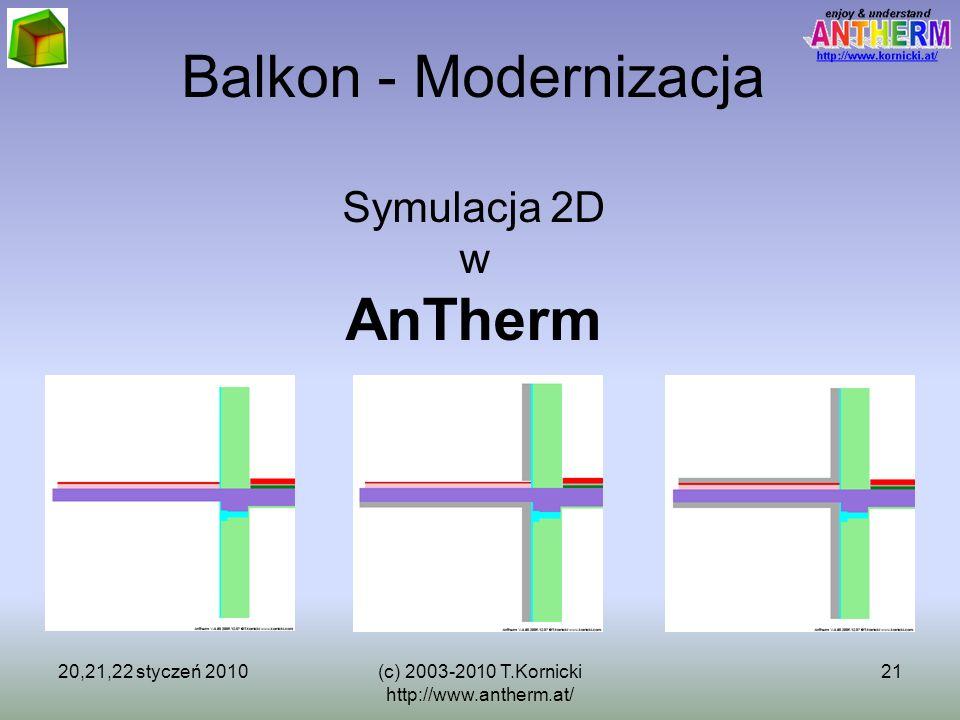 20,21,22 styczeń 2010(c) 2003-2010 T.Kornicki http://www.antherm.at/ 21 Balkon - Modernizacja Symulacja 2D w AnTherm