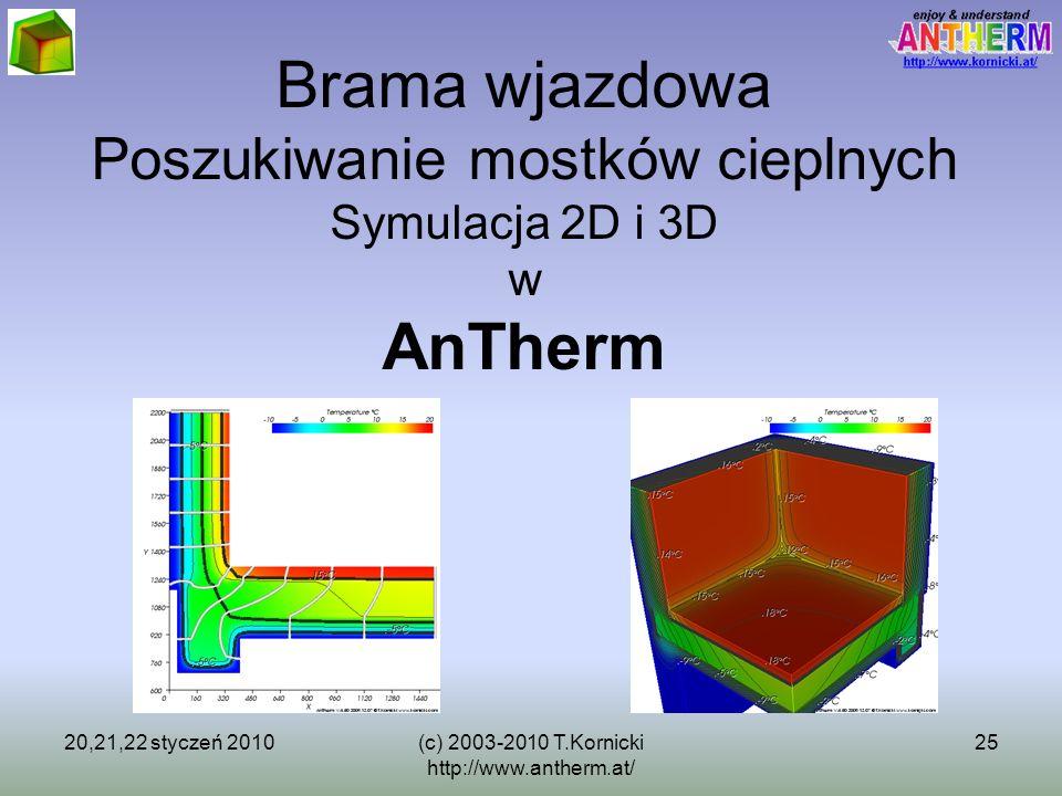 20,21,22 styczeń 2010(c) 2003-2010 T.Kornicki http://www.antherm.at/ 25 Brama wjazdowa Poszukiwanie mostków cieplnych Symulacja 2D i 3D w AnTherm