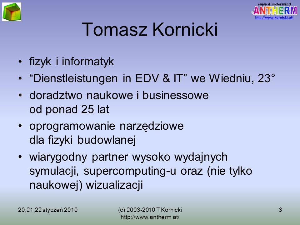 20,21,22 styczeń 2010(c) 2003-2010 T.Kornicki http://www.antherm.at/ 3 Tomasz Kornicki fizyk i informatyk Dienstleistungen in EDV & IT we Wiedniu, 23°