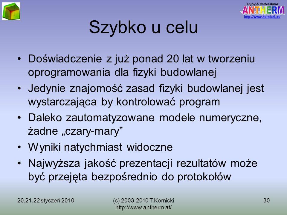 20,21,22 styczeń 2010(c) 2003-2010 T.Kornicki http://www.antherm.at/ 30 Szybko u celu Doświadczenie z już ponad 20 lat w tworzeniu oprogramowania dla