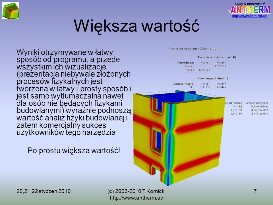 20,21,22 styczeń 2010(c) 2003-2010 T.Kornicki http://www.antherm.at/ 7 Większa wartość Wyniki otrzymywane w łatwy sposób od programu, a przede wszystk