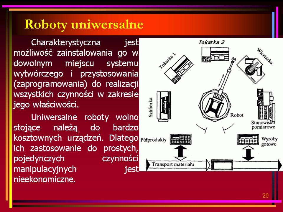 20 Roboty uniwersalne Charakterystyczna jest możliwość zainstalowania go w dowolnym miejscu systemu wytwórczego i przystosowania (zaprogramowania) do realizacji wszystkich czynności w zakresie jego właściwości.